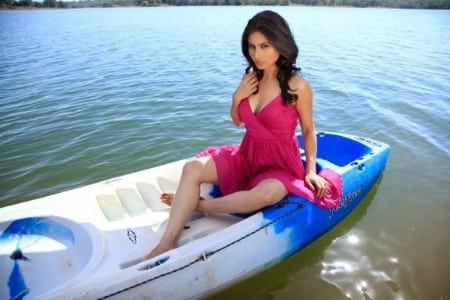 Mouni Roy hot look alone on a boat