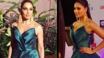 Bipasha Basu's Hot Cleavage Show In Green gown at Miss India 2017 contest