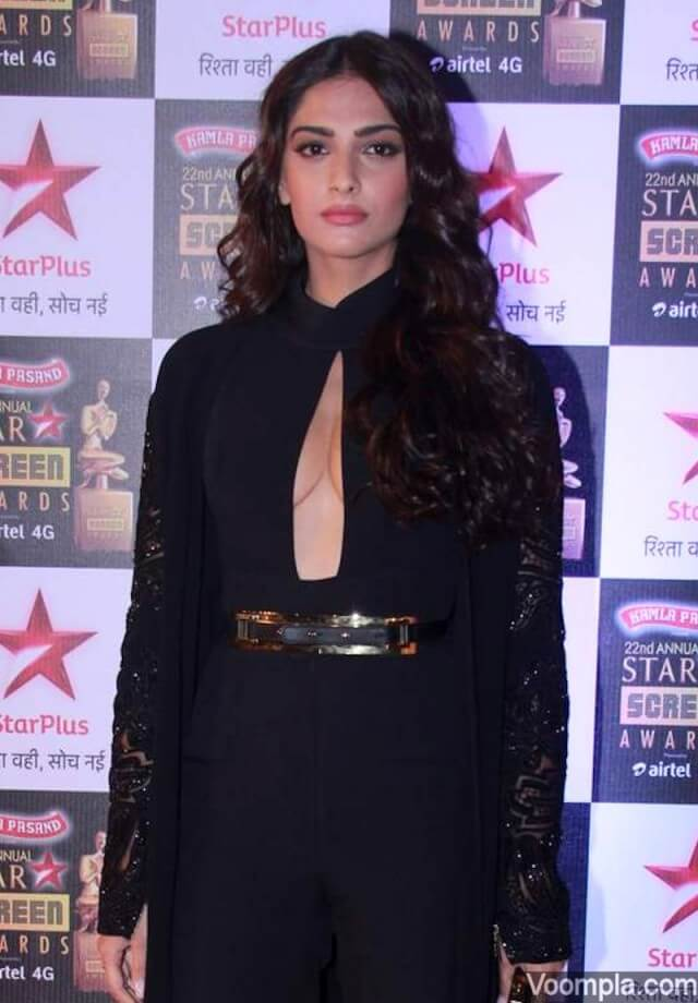 Sonam Kapoor Flaunts Cleavage at Star Screen Awards 2016