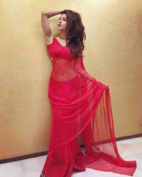 Sonarika Bhadoria hot in red saree
