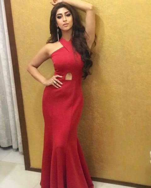 hot Sonarika Bhadoria beautiful look in red saree