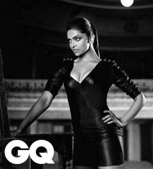 Deepika Padukone hot clevage show in black dress gq photoshoot