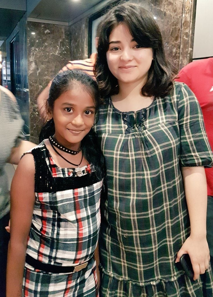 Zaira Wasim ooking cute with a fan