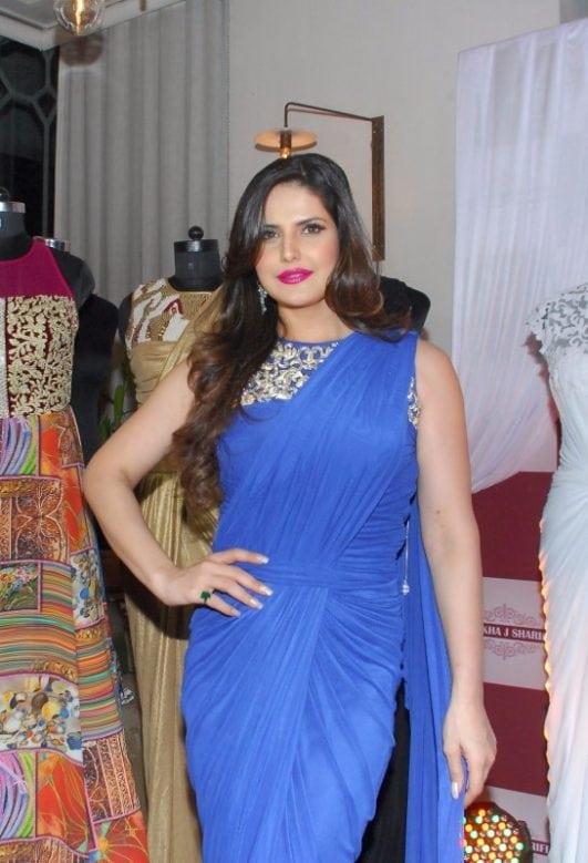 Zarine Khan Looks Smoking Hot In Blue Saree At Zulekha J Shariff's New Collection Launch in Nido, Mumbai