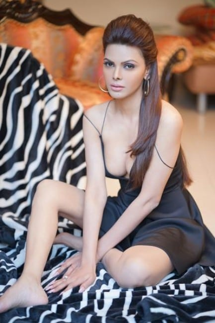Sherlyn Chopra hot in black dress