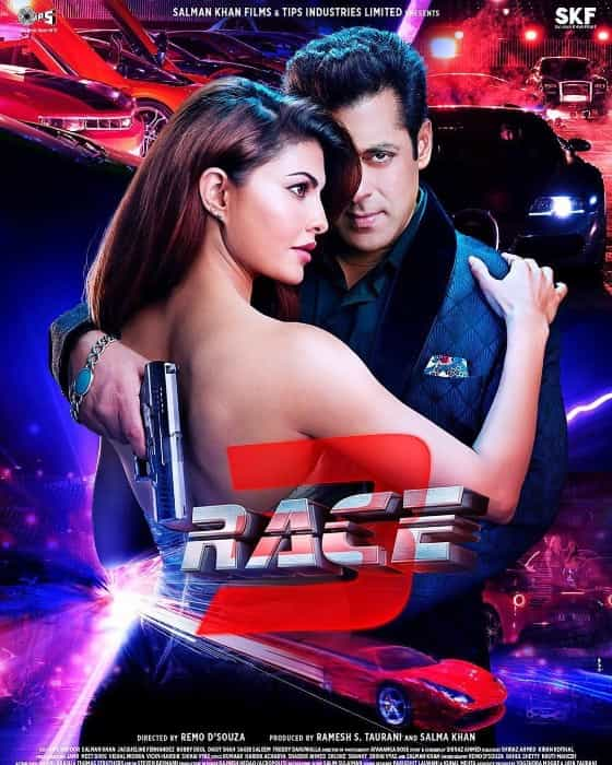 jacqueline fernandez hot backless race 3 poster with salman khan