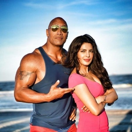 Priyanka-chopra-with-rock-on-Baywatch-shooting