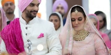 neha dhupia wedding photo with husband angad-bedi marriage pic