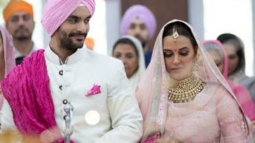 neha dhupia wedding photo with husband angad-bedi marriage pic