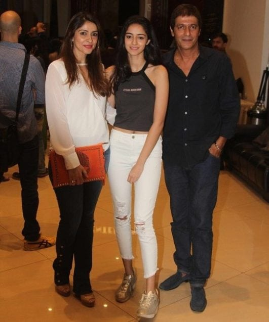 Ananya Pandey with her father and mother
