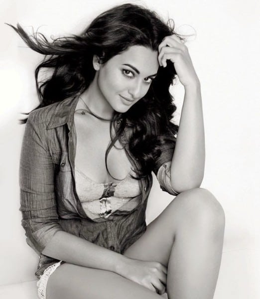 hot Sonakshi Sinha sexy black and white photo