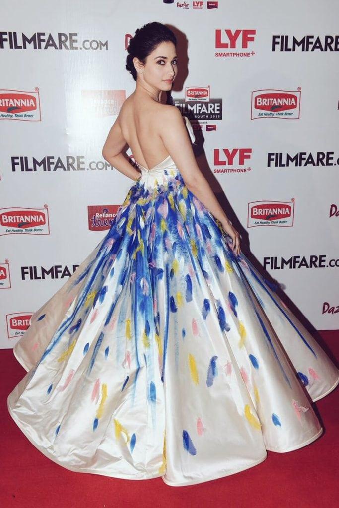 Tamanna backless dress at award