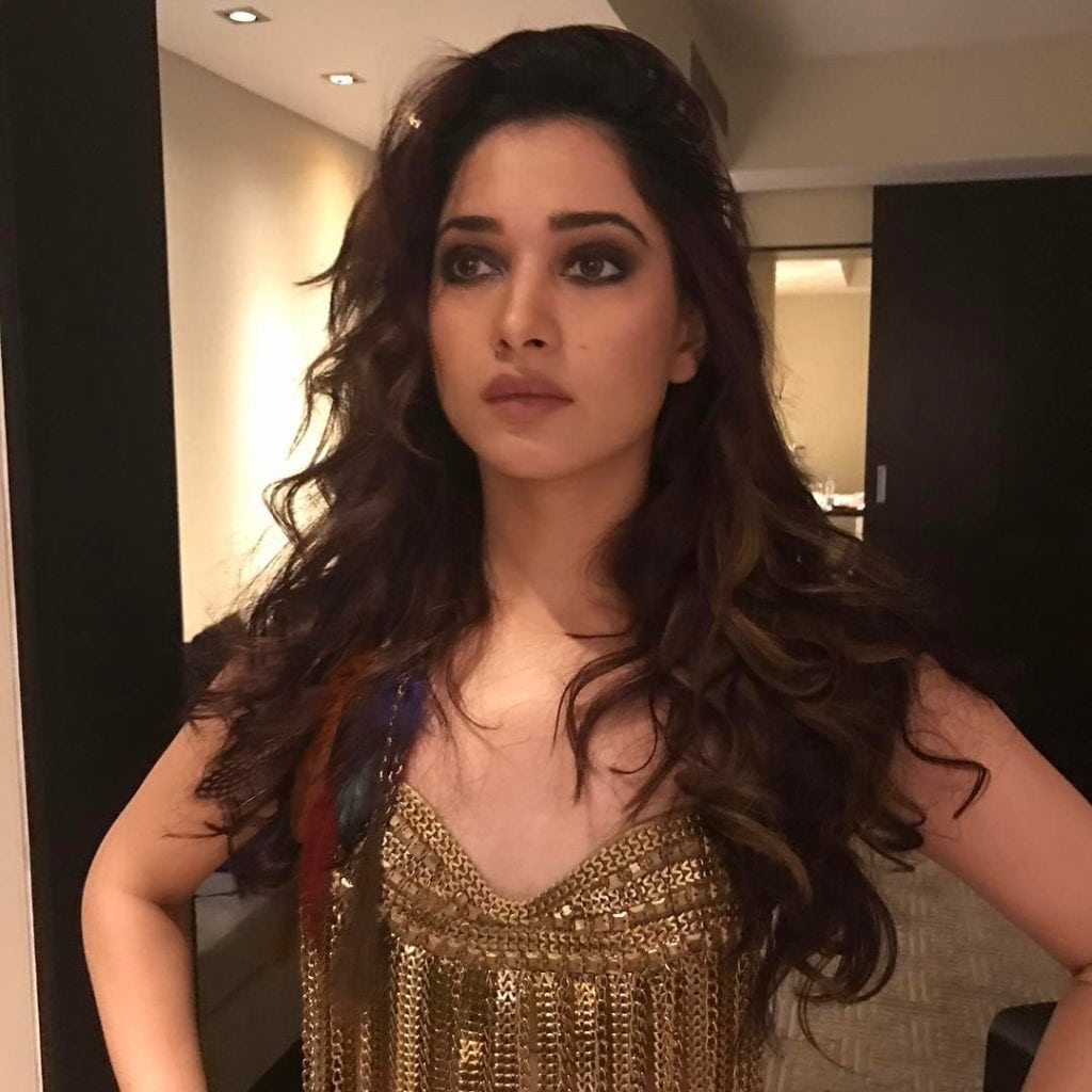 Tamanna clevage shoe instagram photo