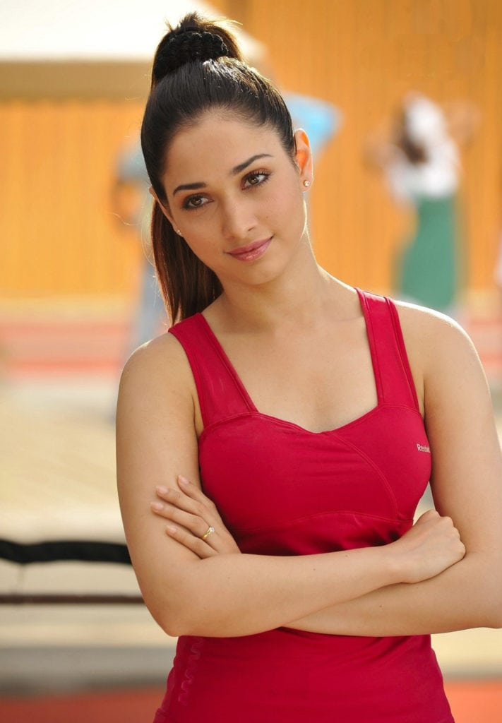 Tamanna hot and sexy looking in red