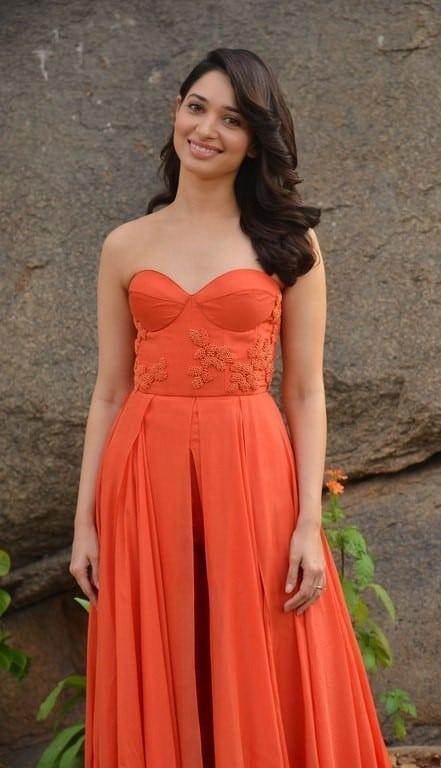 hot Tamanna bhatia in orange dress