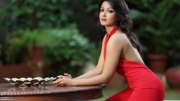 Catherine Tresa hot pics in red dress