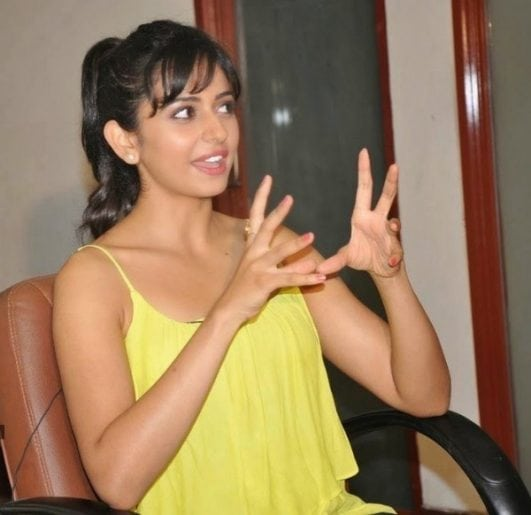 Rakul Preet Singh hot image in yellow dress