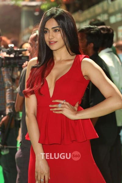 adah sharma hot photo in red dress at an event